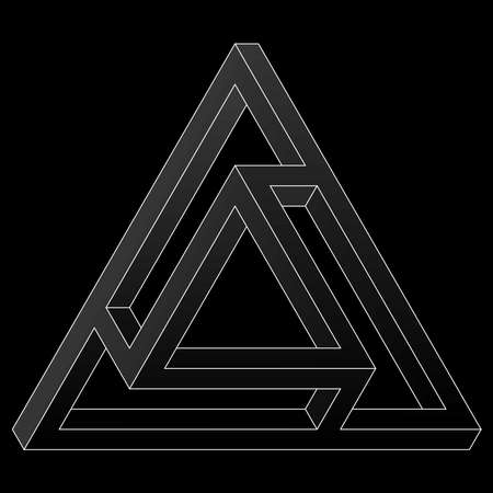 Impossible triangular icon. White vector optical illusion shape on black background.