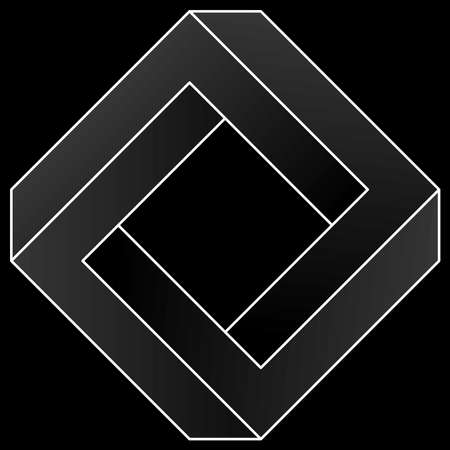 Impossible square icon. White vector optical illusion shape on black background.