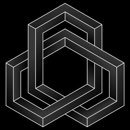 Impossible cube icon. White vector optical illusion shape on black background.