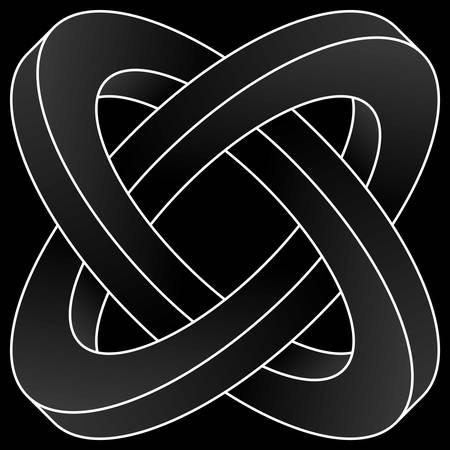 Impossible two circles icon. White vector optical illusion shape on black background. Illusztráció