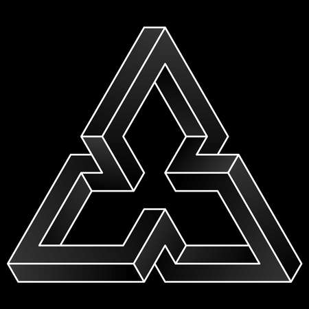 Impossible triangular icon. White vector optical illusion shape on black background. Çizim