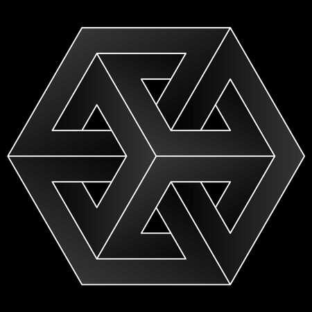 Onmogelijk kubuspictogram. Witte optische illusie vectorvorm op zwarte achtergrond. Vector Illustratie