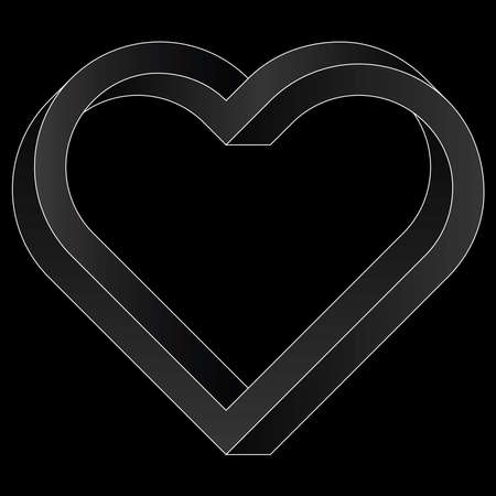 Impossible twisted heart icon. White vector optical illusion shape on black background.