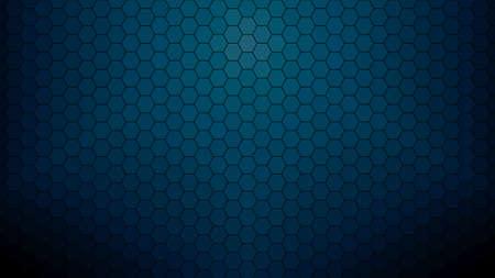 Dark blue hexagonal clear background for business presentation. HD 16x9 vector pattern.