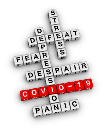 COVID-19 pandemic personal emotion. 3D crossword puzzle