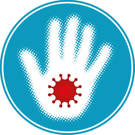Halftone hand with coronavirus symbol. Vector icon. Vektorové ilustrace