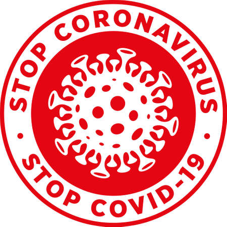 Stop Coronavirus Stop Covid19 Signage or Sticker for help reduce the risk of catching novel coronavirus. Vector sign.