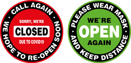 Closed and Open Signage or Door Sticker for Coronavirus Covid-19 Quarantine. Vector sign.