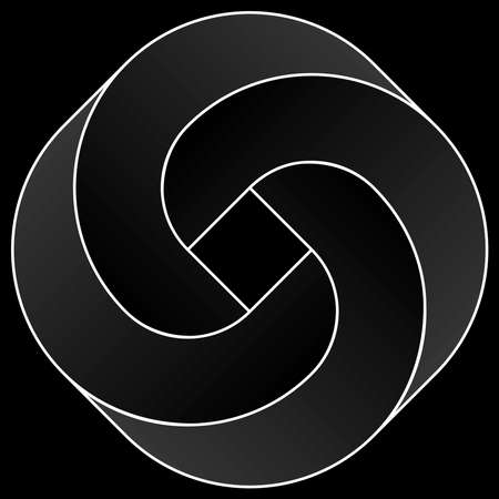Impossible rounded square icon. White vector optical illusion shape on black background. Banque d'images