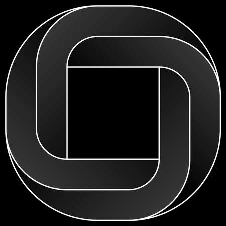 Impossible rouded square icon. White vector optical illusion shape on black background. Banque d'images