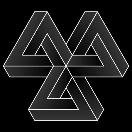 Impossible triangular icon. White vector optical illusion shape on black background.