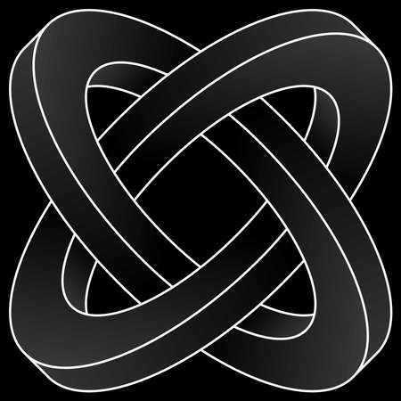 Impossible two circles icon. White vector optical illusion shape on black background. Banque d'images