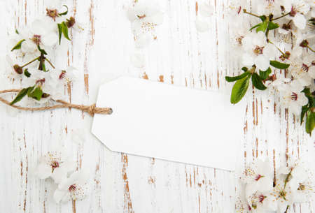 flower background: spring cherry blossom with card on a wooden background