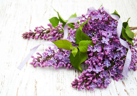 arrangements: Lilac flowers on a old wooden background