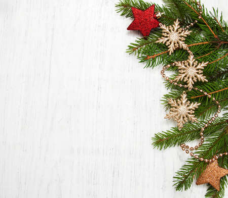 christmas background - christmas decor on the wooden background Archivio Fotografico