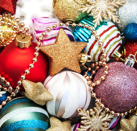 group of christmas baubles: Set of christmas balls  and baubles - christmas background