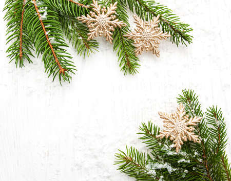 shiny christmas baubles: christmas background - christmas decor on the wooden background Stock Photo