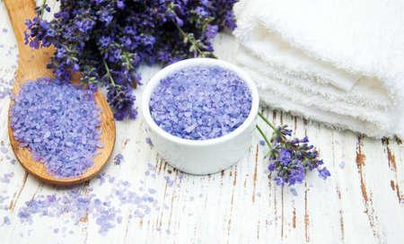salt: Lavender and massage salt on a old wooden background Foto de archivo