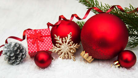 decoration  design: christmas decoration baubles and a branch of pine tree