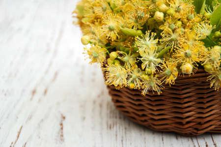 linden flowers: Linden flowers on a old wooden background
