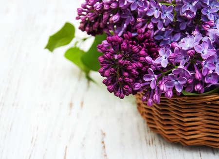 flores moradas: Flores de la lila en un fondo de madera vieja