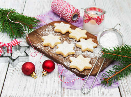 Christmas cookies - fresh baked star shaped biscuits
