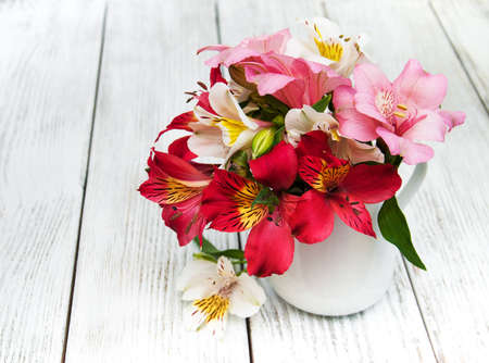 beautiful bouquet of pink alstroemeria in the vase