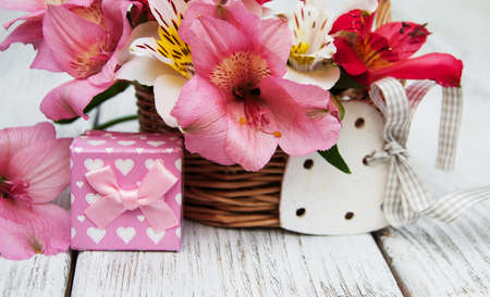 beautiful bouquet of pink alstroemeria with gift box