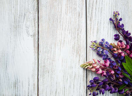 lupines: Lupine flowers on a old wooden table