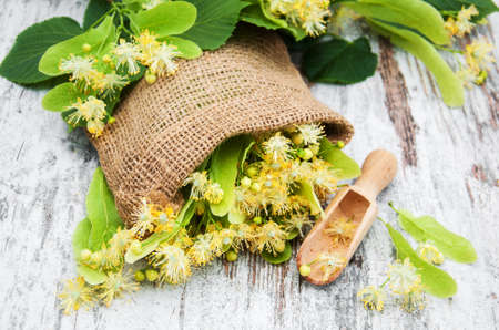 Linden flowers on a old wooden background
