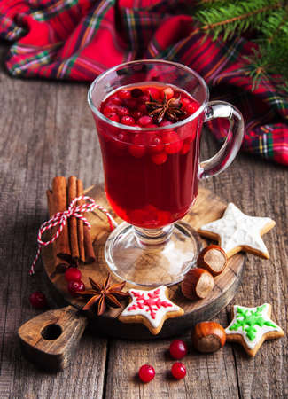 Christmas hot mulled wine and cookies on a table