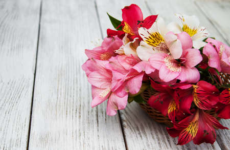beautiful bouquet of pink alstroemeria in the basket