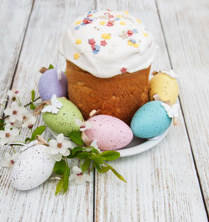 Easter bread and eggs with spring  blossom