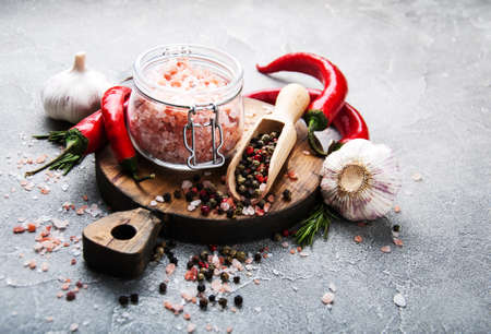 Pink salt and spice, ingredients for cooking