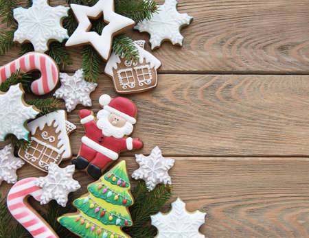 Christmas decoration with cookies on a old wooden table