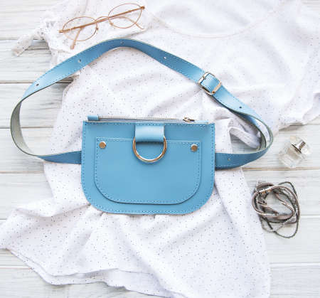Blue womens leather bag and womens  accessories