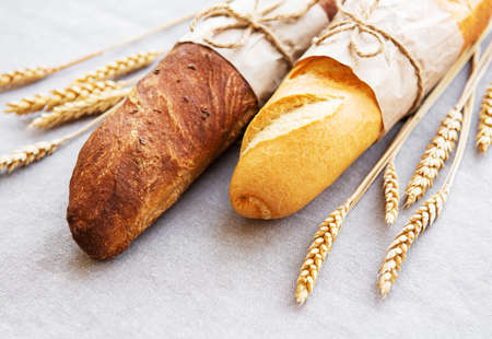 Freshly baked baguette bread - top view