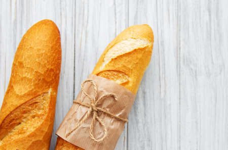 Freshly baked baguette bread - top view