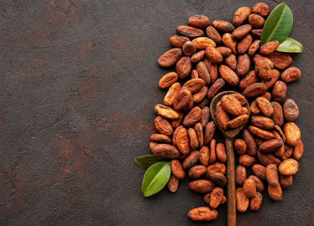 Raw Cocoa beans on a dark concrete background Imagens