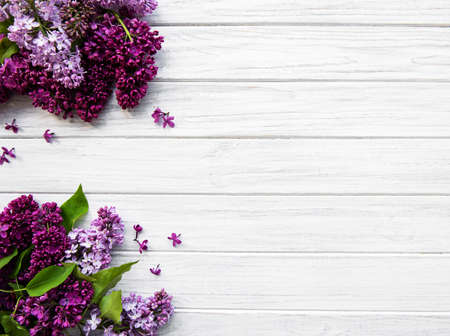 Lilac spring flower border on a white wooden background
