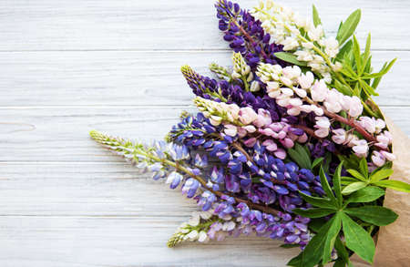 Pink and purple lupine flowers border on a old white wooden background Imagens