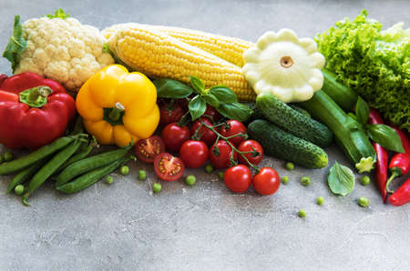 Set of vegetables on a concrete background