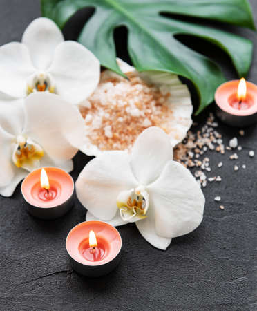 Natural spa ingredients with orchid flowers on a black concrete 写真素材