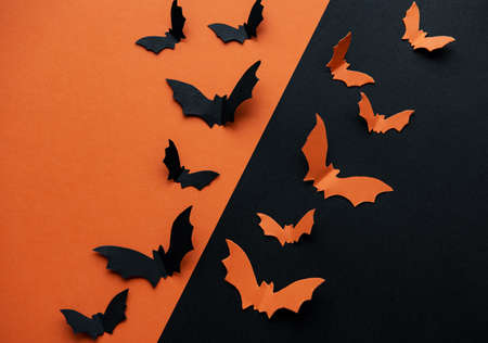 halloween  concept - black and orange paper bats flying over black and orange background
