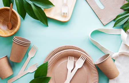 Zero waste, environmentally friendly, disposable, cardboard, paper tableware. View from the top. Stock Photo