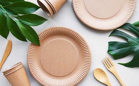 Recycled tableware top view. Zero waste, eco friendly, plastic free background. Flat lay. Stok Fotoğraf