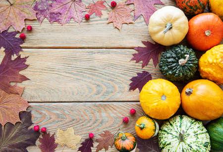 Zucche su uno sfondo di legno. Raccolto di zucca. Verdure di stagione