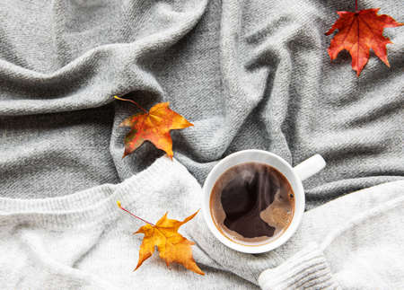 Autumn and winter home still life . The view from the top. The concept of home atmosphere and decor. Cup of coffee and autumn leaves  免版税图像