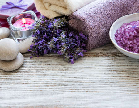 lavender flowers and lavender aromatic sea salt - natural skin care spa