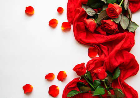 Red roses heads ans scarf scattered on a white background, overhead view. Flat lay Фото со стока